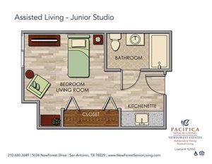 Assisted Living - Junior Studio Floor Plan at NewForest Estates, San Antonio, Texas