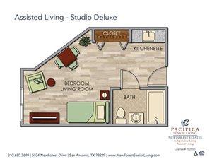Assisted Living - Studio Deluxe Floor Plan at NewForest Estates, San Antonio