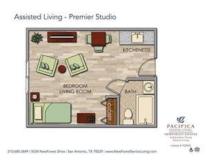 Assisted Living - Studio Premier Floor Plan at NewForest Estates, Texas