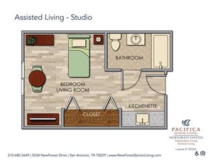 Assisted Living Studio Floor Plan at NewForest Estates, Texas, 78229