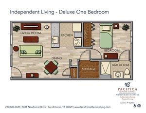 Independent Living - Deluxe One Bedroom Floor Plan at NewForest Estates, San Antonio, TX, 78229