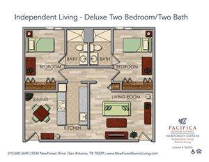 Independent Living - Deluxe Two Bedroom Two Bath Floor Plan at NewForest Estates, San Antonio, TX
