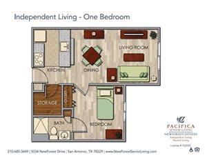 Independent Living - Private One Bedroom Floor Plan at NewForest Estates, San Antonio, 78229