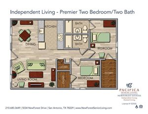 Independent Living - Well-appointed Two Bedroom Two Bath Floor Plan at NewForest Estates, San Antonio, Texas