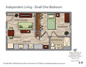 Independent Living - Cozy One Bedroom Floor Plan at NewForest Estates, San Antonio
