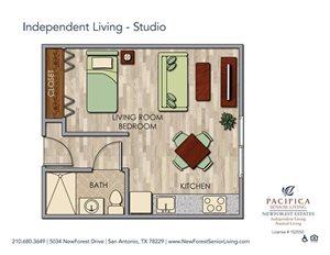 Cozy Bedroom Studio Floor Plan at NewForest Estates, Texas
