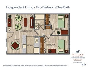 Independent Living - Spacious Two Bedroom One Bath Floor Plan at NewForest Estates, Texas, 78229
