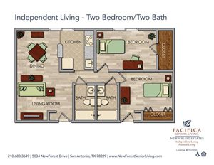 Independent Living - Luxurious Two Bedroom Two Bath Floor Plan at NewForest Estates, San Antonio, TX, 78229