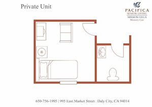 Private Floor Plan at Pacifica Senior Living Mission Villa, California, 94014