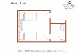 Shared Floor Plan at Pacifica Senior Living Mission Villa, Daly City, CA, 94014