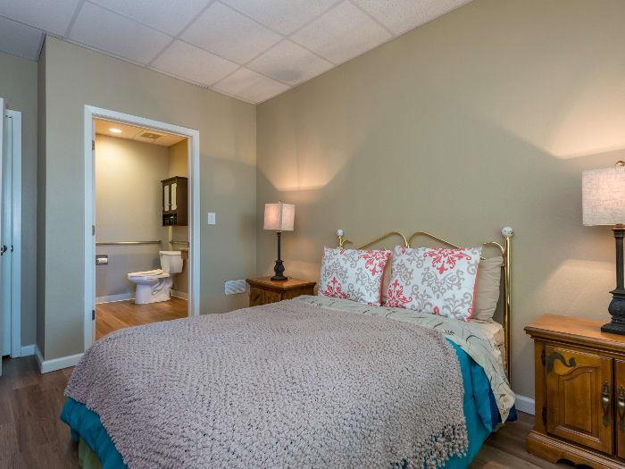 Bedroom and Bathroom at Pacifica Senior Living Santa Fe
