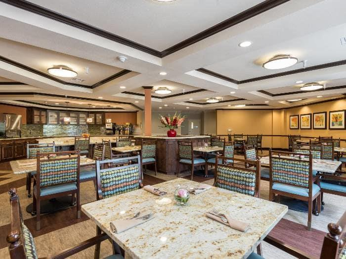Beautiful Dining Room, where Pacifica Senior Living Santa Fe offers a full-service and delicious dining program