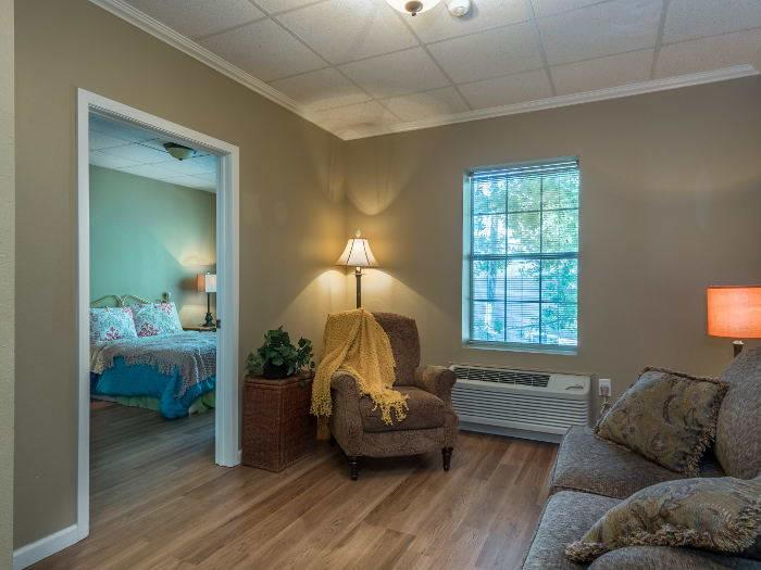 Decorated Living Room and Bedroom at Pacifica Senior Living Santa Fe in Santa Fe, NM