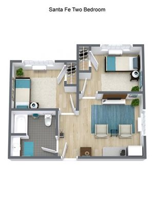Independent Living Bandelier - Two Bedroom Floor Plan at Pacifica Senior Living Santa Fe, Santa Fe, New Mexico