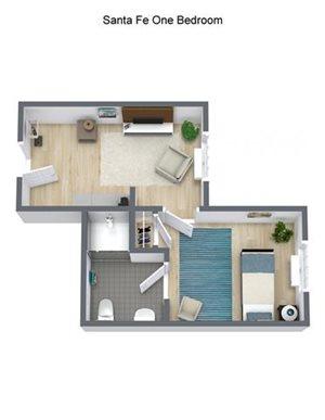 Active Living Eldorado - One Bedroom Floor Plan at Pacifica Senior Living Santa Fe, Santa Fe