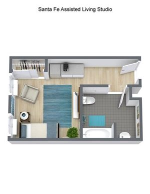 Assisted Living Tesuque – Studio Floor Plan at Pacifica Senior Living Santa Fe, New Mexico