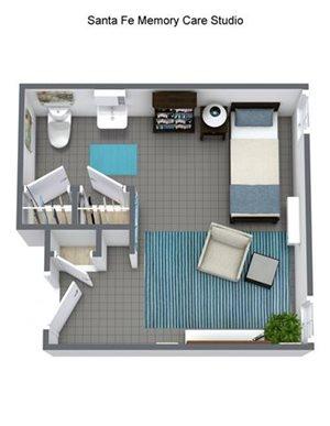 Memory Care Nambe - Private Room Floor Plan at Pacifica Senior Living Santa Fe, New Mexico, 87505