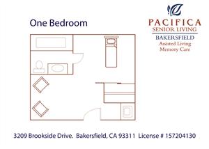 Private One Bedroom Floor Plan at Pacifica Senior Living Bakersfield, Bakersfield