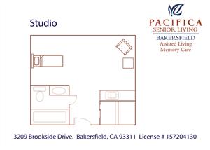 Private Studio Floor Plan at Pacifica Senior Living Bakersfield, Bakersfield, California