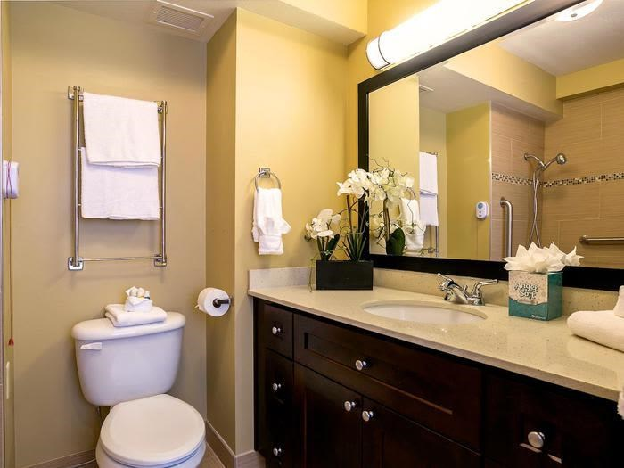 Designer Granite Countertops in all Bathrooms at Pacifica Senior Living Calaroga Terrace, Oregon, 97232