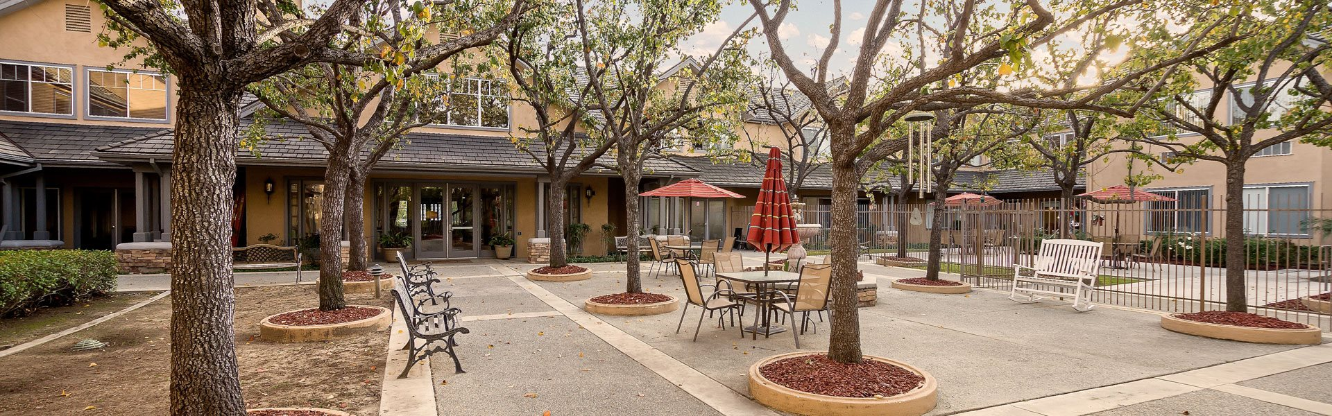 Shade providing trees at Pacifica Senior Living Chino Hills, California