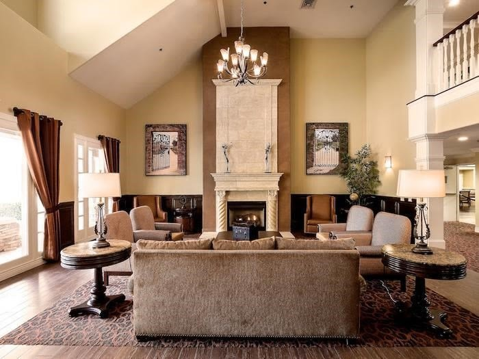 Cozy common room at senior living facility in Chino Hills, California