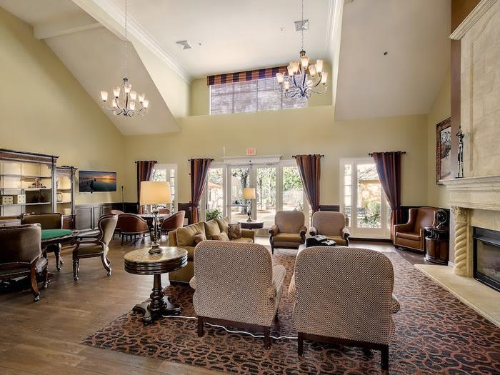 Vaulted Ceilings in Living space at Pacifica Senior Living Chino Hills in Chino Hills, California