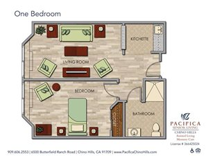 One Bedroom Floor Plan at Pacifica Senior Living Chino Hills, Chino Hills, California