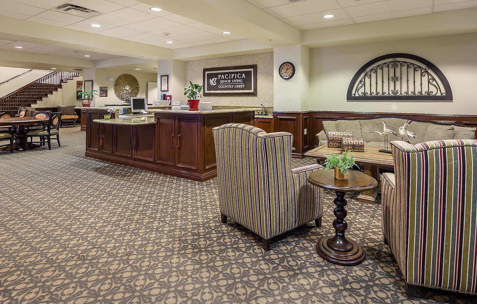 Palatial Reception Area at Pacifica Senior Living Country Crest, Oroville, CA, 95966