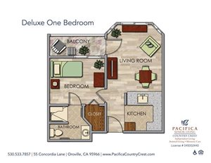 Deluxe One Bedroom Floor Plan at Pacifica Senior Living Country Crest, California