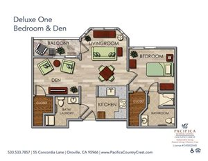 Deluxe One Bedroom & Den Floor Plan at Pacifica Senior Living Country Crest, Oroville