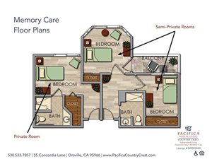Memory Care Floor Plans companion at Pacifica Senior Living Country Crest, California, 95966
