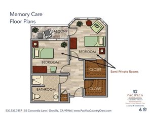 Memory Care Floor Plans shared at Pacifica Senior Living Country Crest, Oroville, CA, 95966