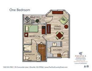 One Bedroom Floor Plan at Pacifica Senior Living Country Crest, Oroville, 95966