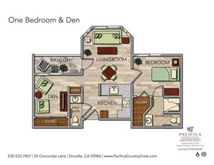 One Bedroom & Den Floor Plan at Pacifica Senior Living Country Crest, Oroville, CA