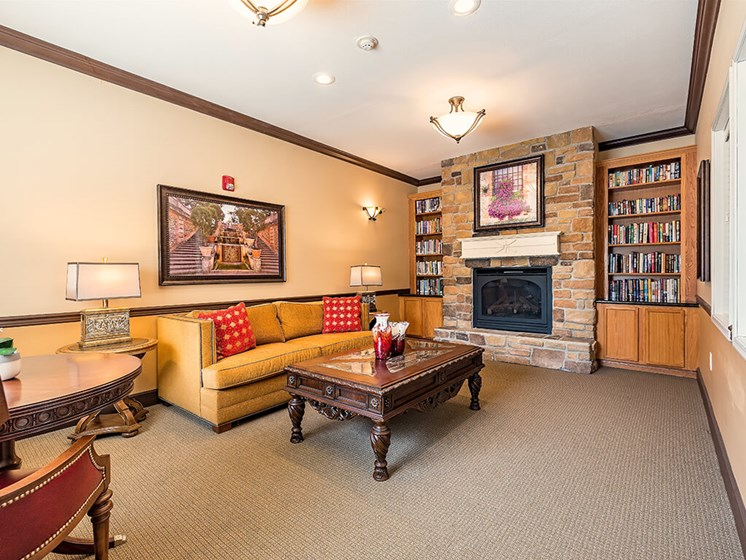 Living Room With Standard Fireplace at Pacifica Senior Living Ellensburg, Washington