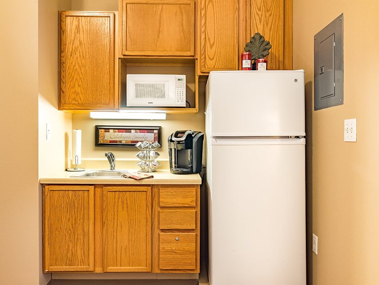 Kitchenette In Apartment at Pacifica Senior Living Ellensburg, Ellensburg, WA, 98926