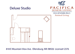 Deluxe Studio Floor Plan at Pacifica Senior Living Ellensburg, Ellensburg, WA, 98926