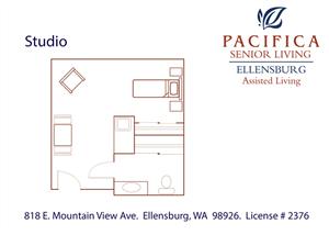 Studio Floor Plan at Pacifica Senior Living Ellensburg, Ellensburg, 98926