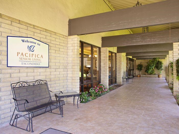 Wonderful Covered patio at Pacifica Senior Living Escondido
