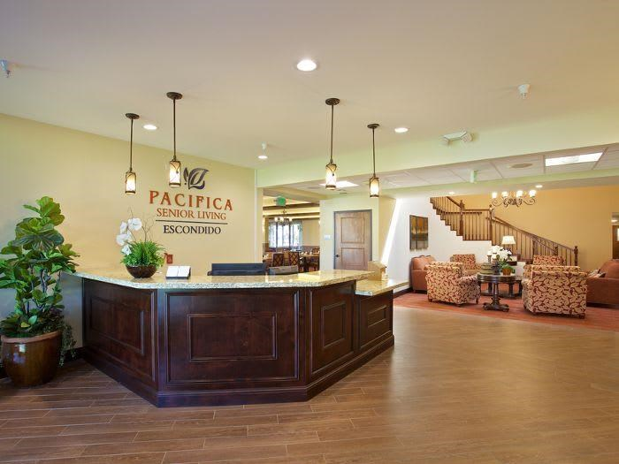 Resort style lobby at Pacifica Senior Living Escondido