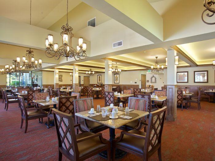 Dining room for lifelong friendships at Pacifica Senior Living Escondido