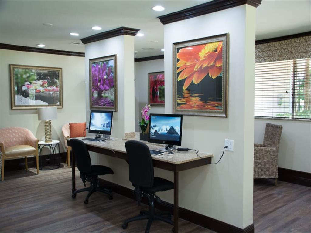 Business center at our senior living facility in Lauderhill, Florida