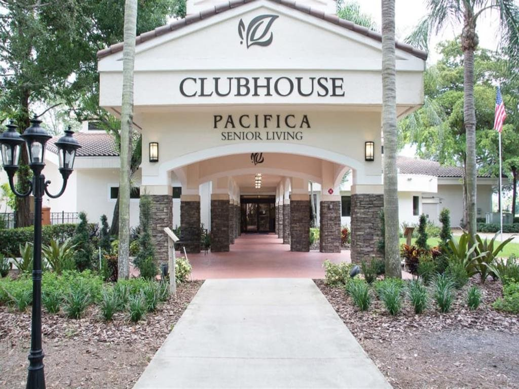 Beautiful entryway at Pacifica Senior Living Forest Trace in Lauderhill, Florida
