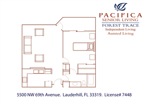 Private One Bedroom Floor Plan at Pacifica Senior Living Forest Trace, Ft. Lauderdale, Florida