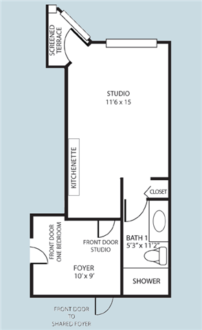 Studio Shared Foyer Floor Plan at Pacifica Senior Living Forest Trace, Ft. Lauderdale