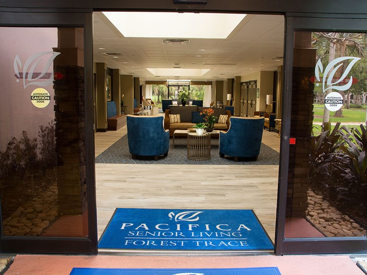 Welcoming Front entrance at Pacifica Senior Living Forest Trace - Ft. Lauderdale, FL, 33319
