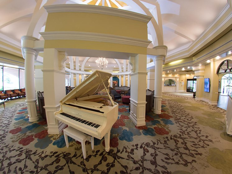 Music room for elegant living at Pacifica Senior Living Forest Trace, near Ft. Lauderdale, Florida