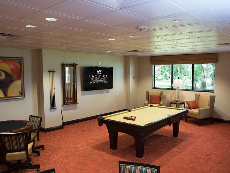 Game room at Pacifica Senior Living Forest Trace in Ft. Lauderdale