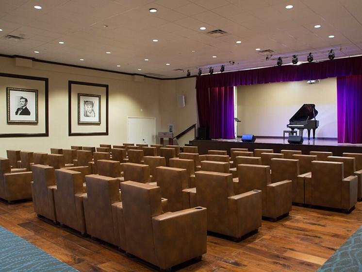 Movie theater at senior living facility in Lauderhill, Florida